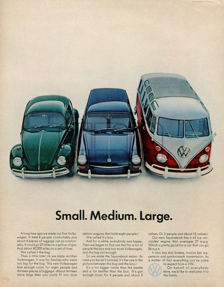 VOLKSWAGEN SMALL MEDIUM LARGE 1967