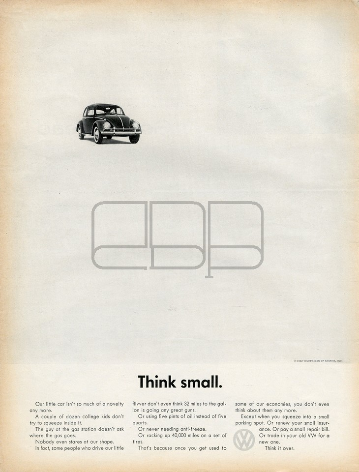ANUNCIO ORIGINAL VOLKSWAGEN THINK SMALL 1960 Y 1962