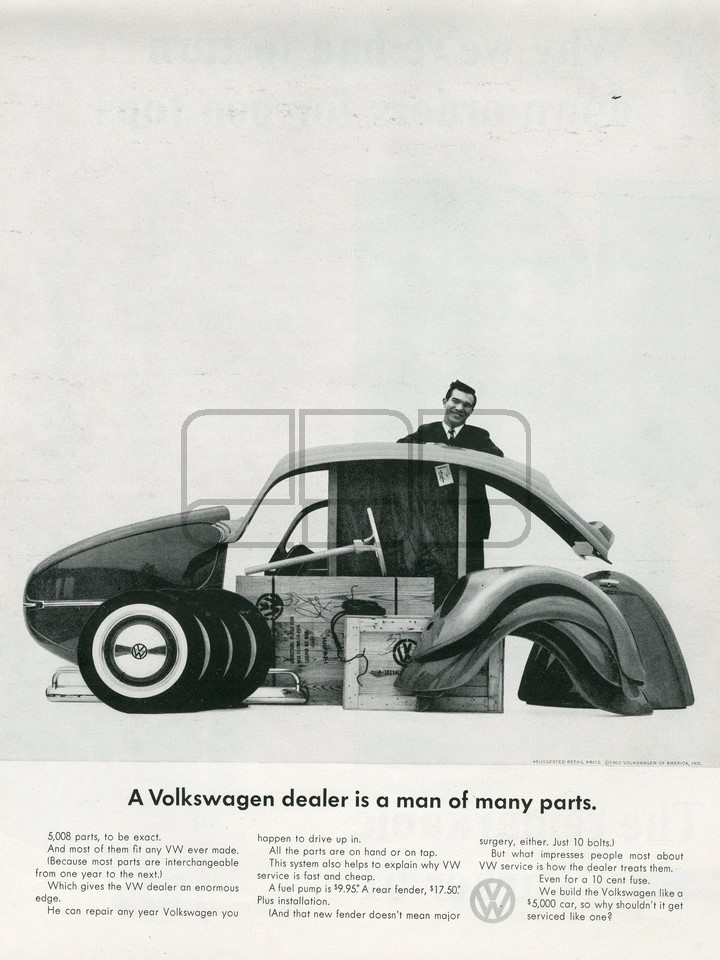 LÁMINA VOLKSWAGEN MANY PARTS 1962